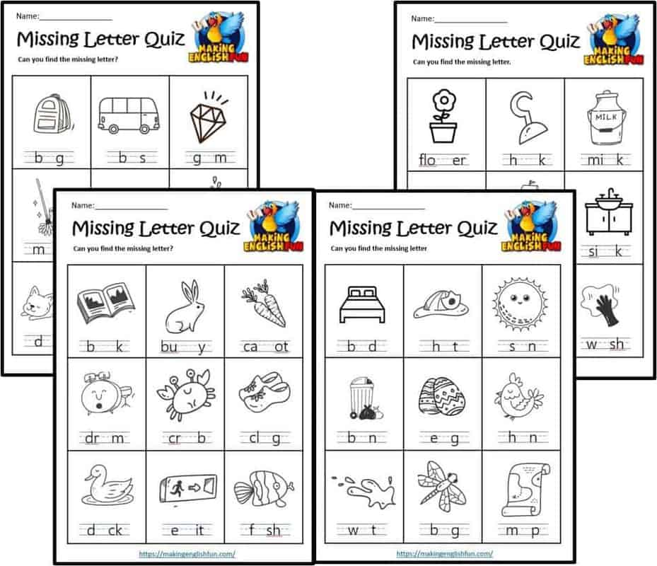 Missing letter spelling Worksheets