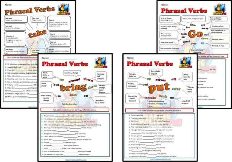 Phrasal Verb Worksheets – Set One.