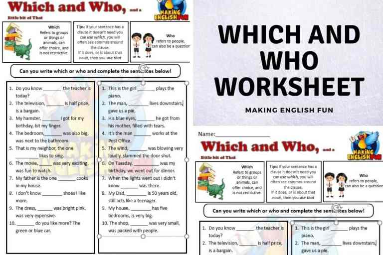 Which and Who Worksheet.
