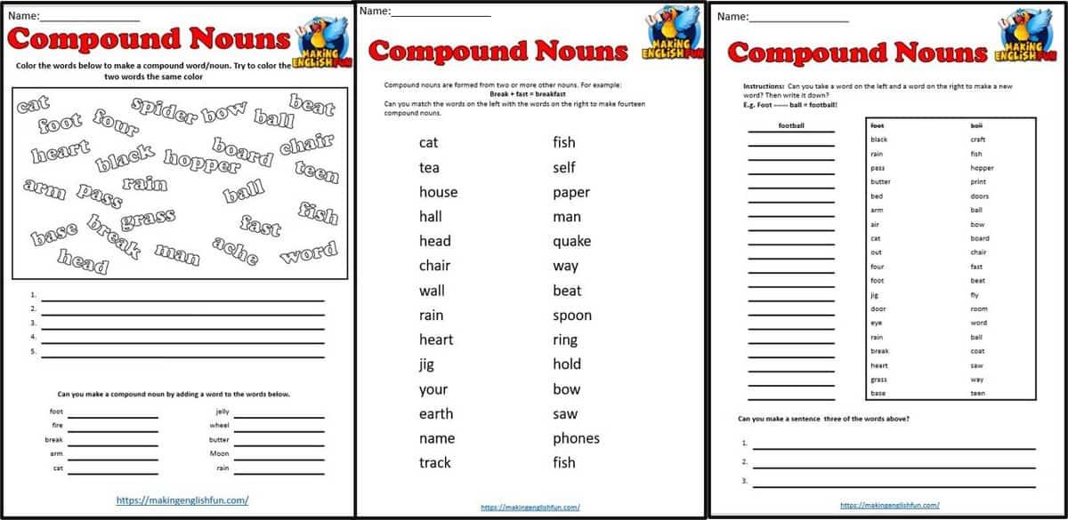 Compound Noun Worksheets