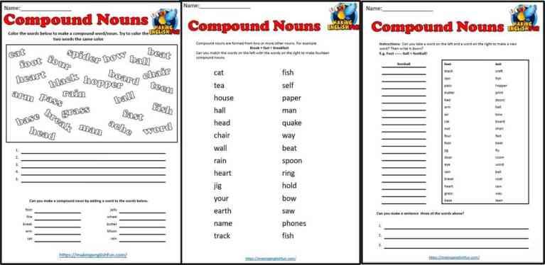 Compound Nouns Worksheets