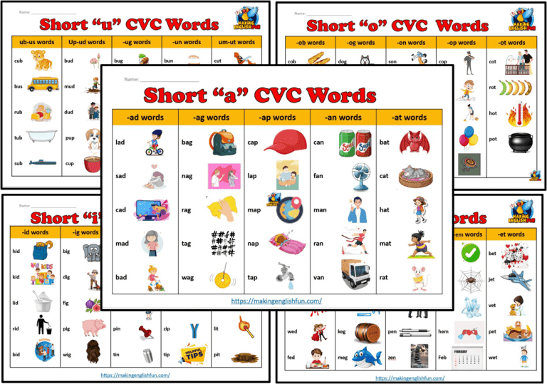 Free CVC Words Lists, Games and Activities.