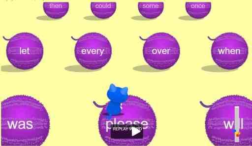 Kitten Hop Sight word game