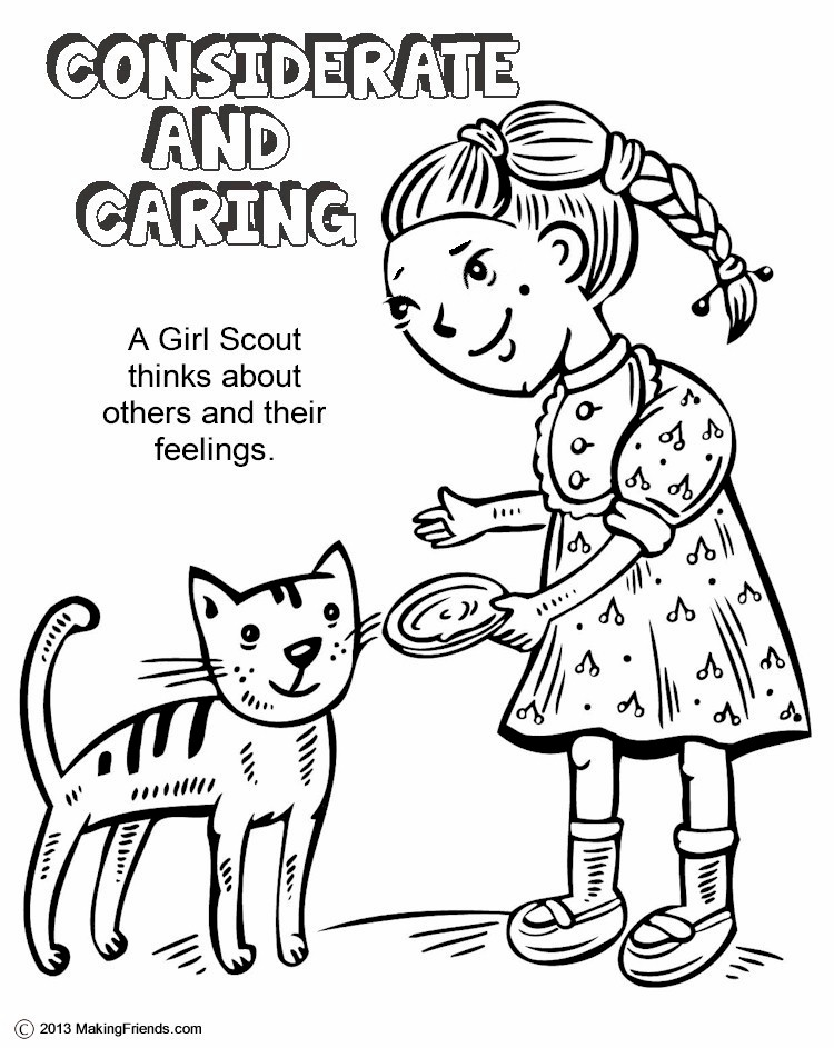 Green Petal, Considerate and Caring Coloring Page