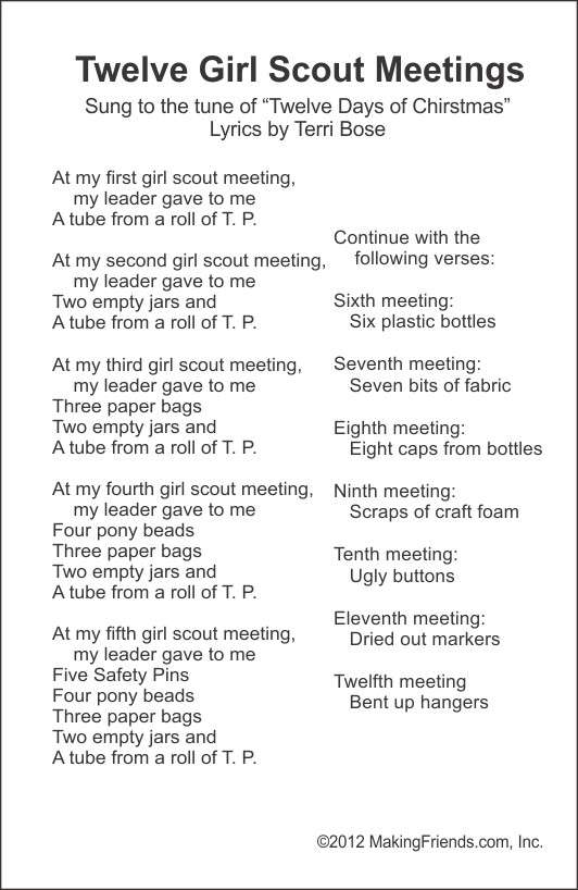 Girl Scout Friendship Song : scout, friendship, Scout, Sheets, MakingFriends
