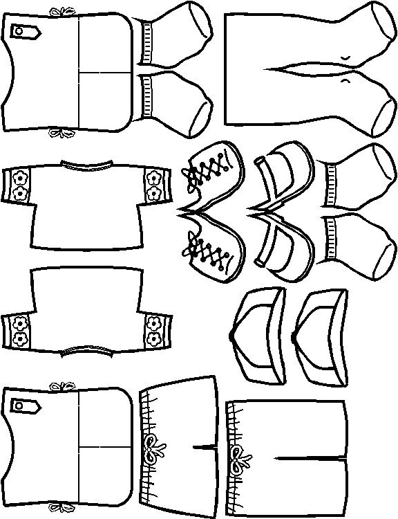 Daisy Paper Doll Friends Daisy Uniform outlines