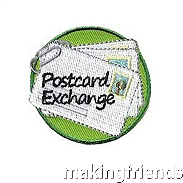 """Get your group involved with a Postcard Exchange and wear the """"Postcard Exchange"""" Patch to proudly announce that you are reaching out to others. #friendshipswaps #swaps #girlscoutswaps #girlscouts #postcards #exchange via @gsleader411"""