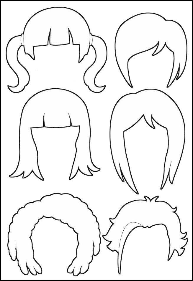 Superhero Paper Dolls Hair Outline