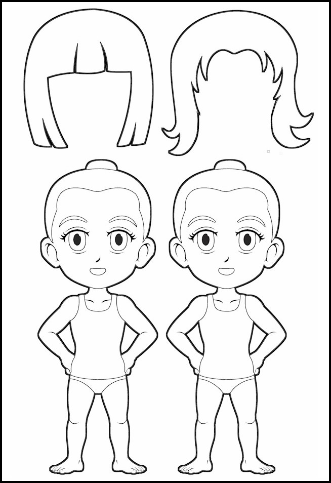 Superhero Paper Dolls Body with Hair Outline