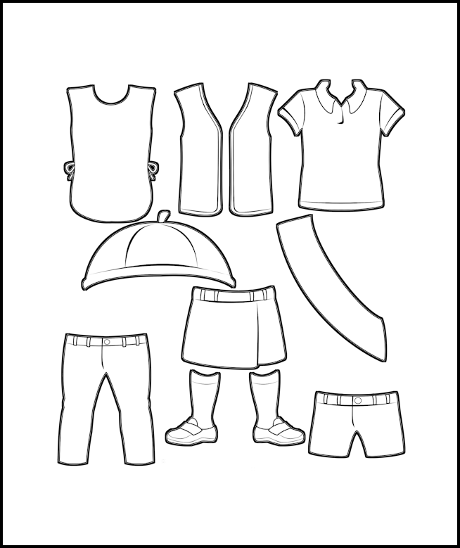 Superhero Paper Dolls Scout Uniforms Outline