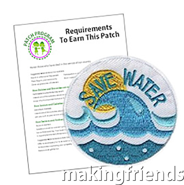 """The """"Save Water"""" Patch is the perfect choice to supplement your Brownie WOW Journey* or for anyone who cares about the environment. #makingfriends #savewater #patchprogram #girlscouts #girlscoutpatches #browniewowjourney via @gsleader411"""