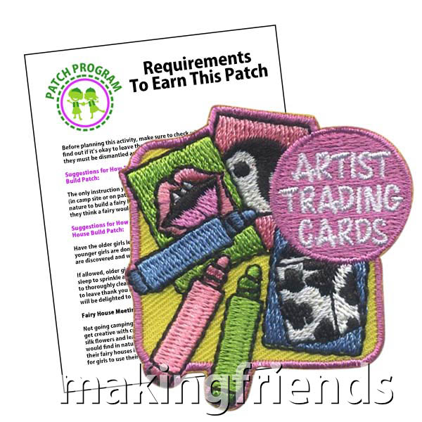 Your girls will love to make and trade these cards and earn a patch or badge. $.69 each free shipping available. #makingfriends #artists #tradingcards #friendshipswaps #swaps #patches #girlscouts #girlscoutpatches via @gsleader411