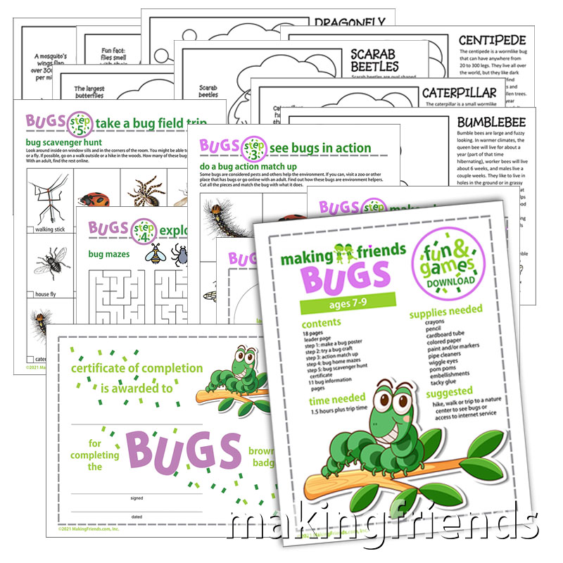 Girl Scout Fun and Games Bug Download for Brownies via @gsleader411