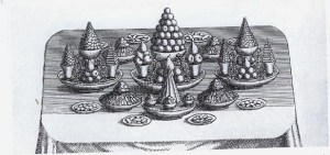 Pyramids in the French fashion, from F. Massialiot, The Court and Country Cook, London, 1702 (By courtesy of the Brotherton Library, University of Leeds).