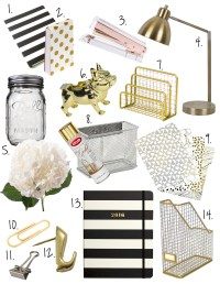 Black, White + Gold Office Decor