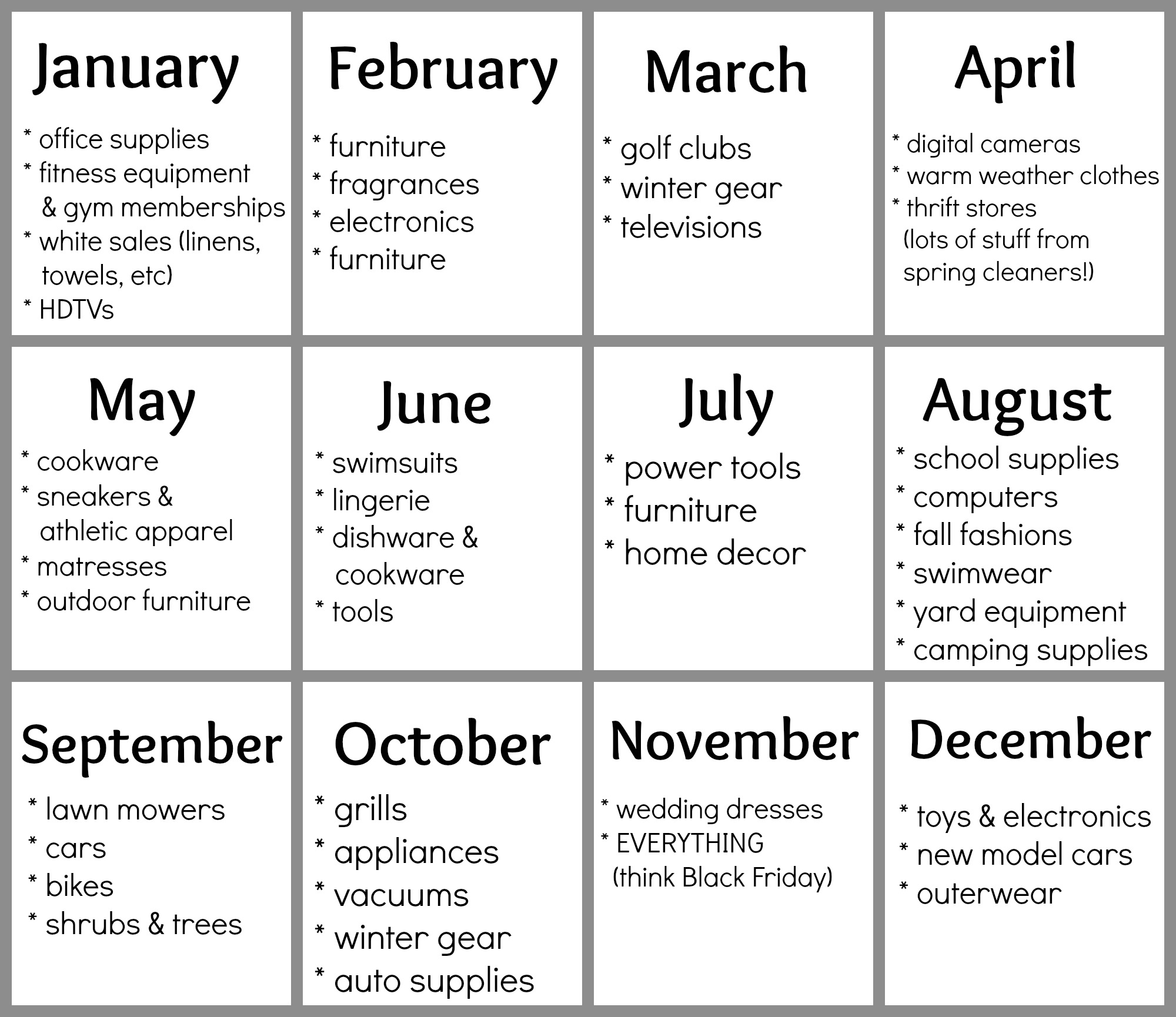 Free Printable Best Deals By Month Calendar