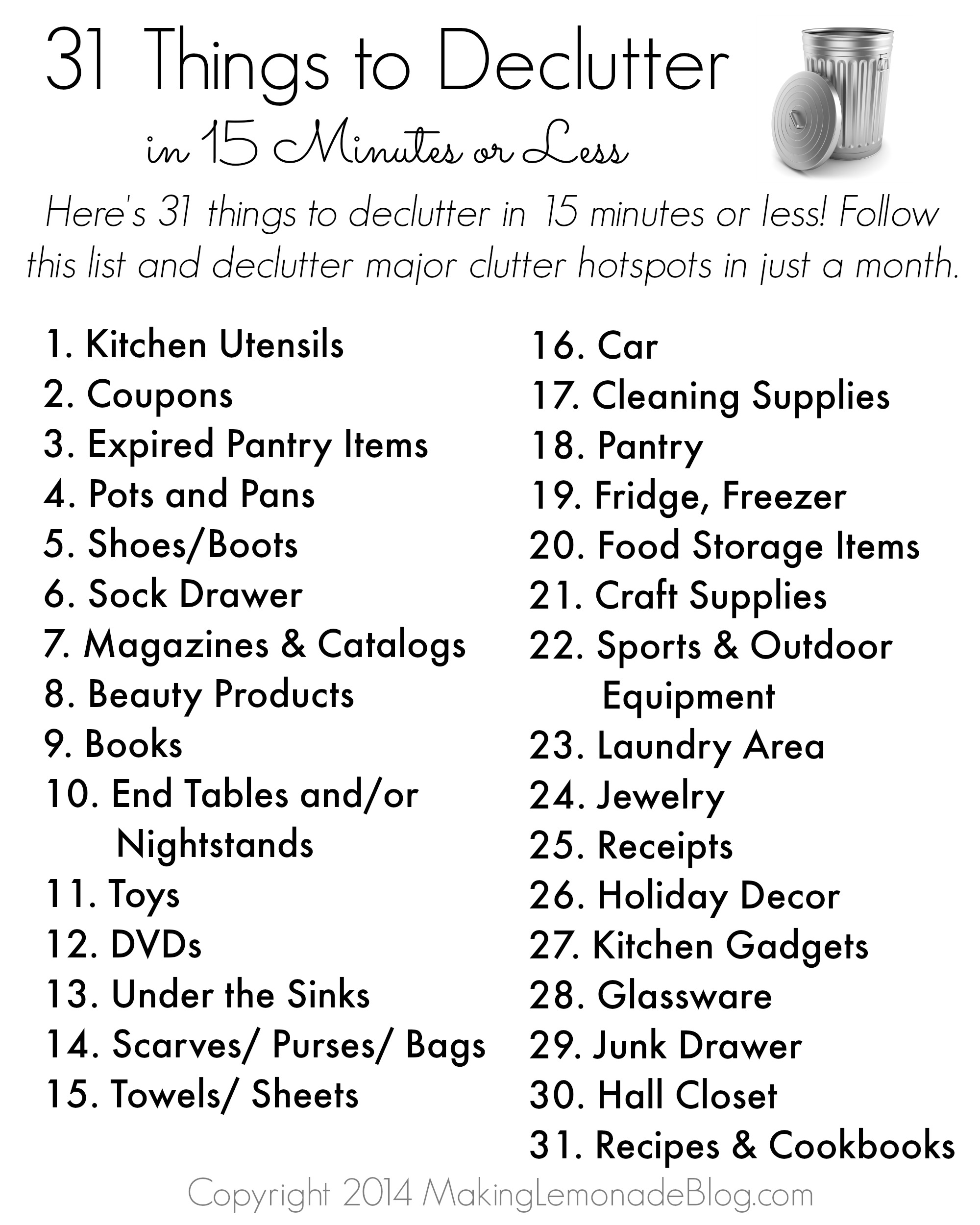 Free Printable 31 Things To Decluttter In 15 Minutes Or Less