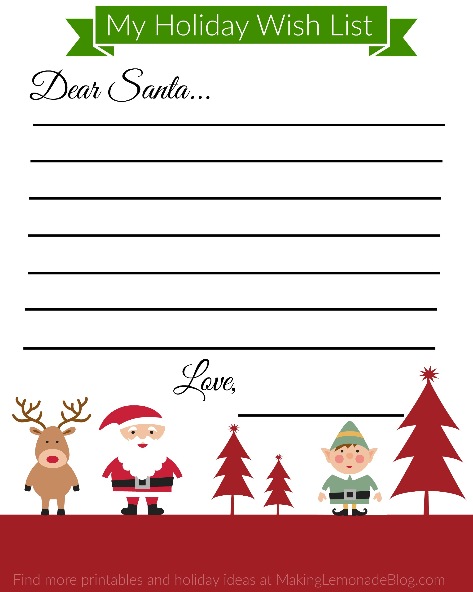 Free Printable Holiday Wish List For Kids