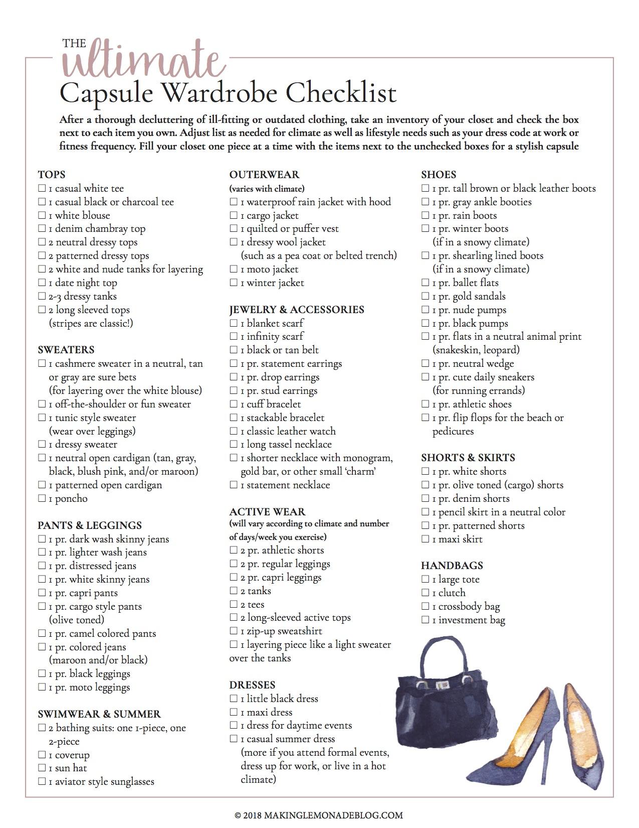 Free Printable Capsule Wardrobe Checklist