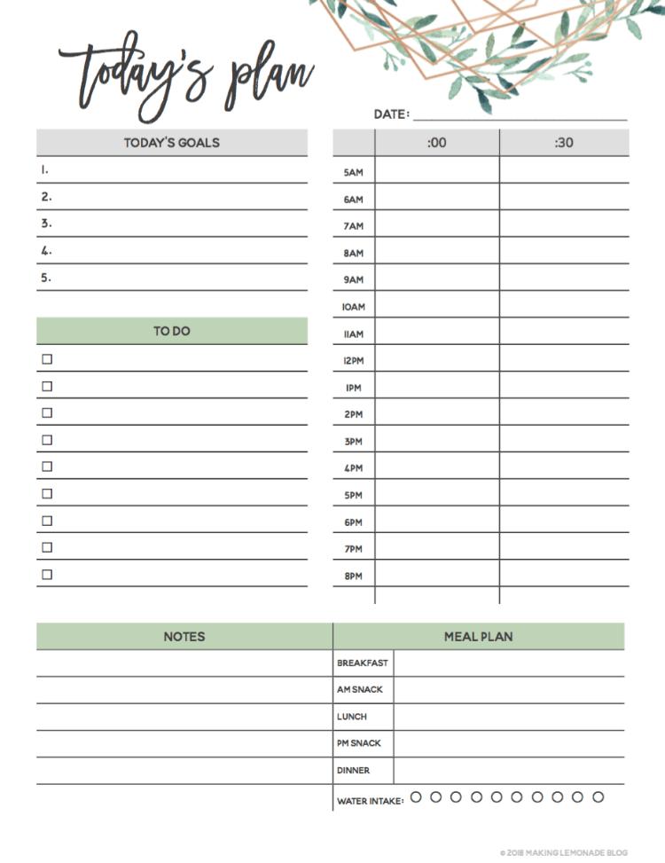 daily agenda printable