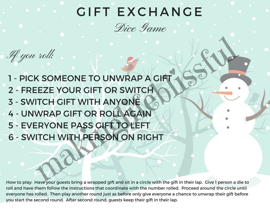 Christmas carol gift exchange game with dice