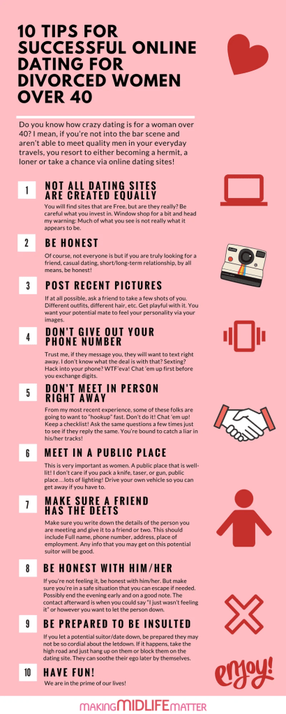 Dating is different the second time around after divorce. Online dating for women over 40 can be scary sh*t but with these 10 tips you will stay safe, have fun and possibly meet a keeper. #onlinedating #relationships #datingafterdivorce