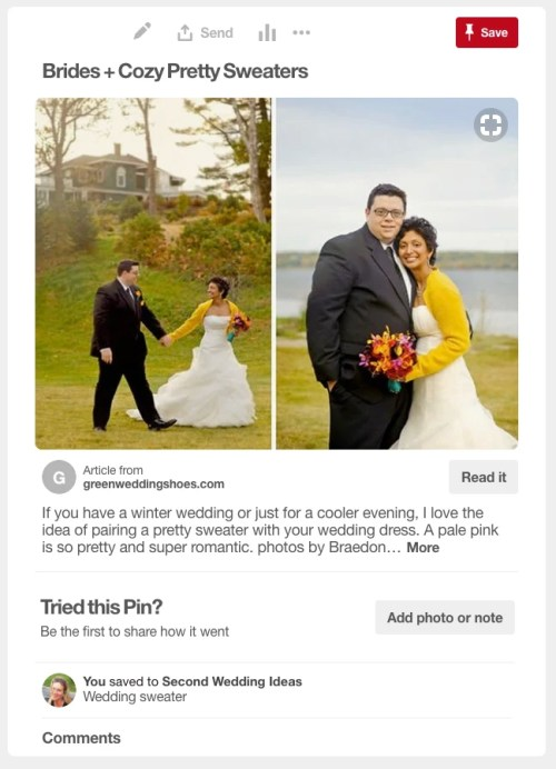 Just because you are an older bride, doesn't mean you can't have the pinterest worthy second wedding you dreamed about. See how one bride used Pinterest for inspiration from invitations to her dress. #wedding #bride #over50