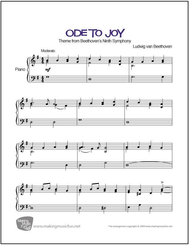 Beethoven's Ode to Joy │ Easy Sheet Music (PDF/ Digital