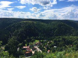 """Blick auf Treseburg vom """"Weißen Hirsch"""""""