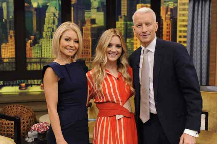 "Kelly Ripa and Anderson Cooper are pictured with Billie Lourd during the production of ""LIVE with Kelly and Michael"" in New York on Monday December 7, 2015. Photo: Pawel Kaminski - Disney/ABC Home Entertainment and TV Distribution ©2015 Disney ABC. All Rights Reserved."