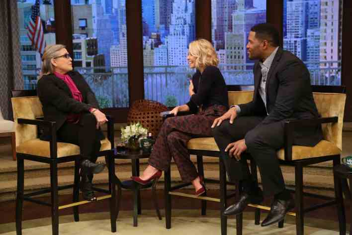 "Kelly Ripa and Michael Strahan talk with Carrie Fisher during the production of ""LIVE with Kelly and Michael"" in New York on Thursday, Dec. 3, 2015. Photo: David M. Russell/Disney ABC Home Entertainment and Television Distribution ©2015 Disney ABC. All Rights Reserved."