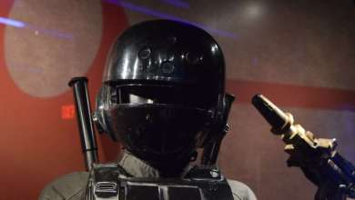 Photo of Rogue One: A Star Wars Story costumes and props at Disneyland's Launch Bay