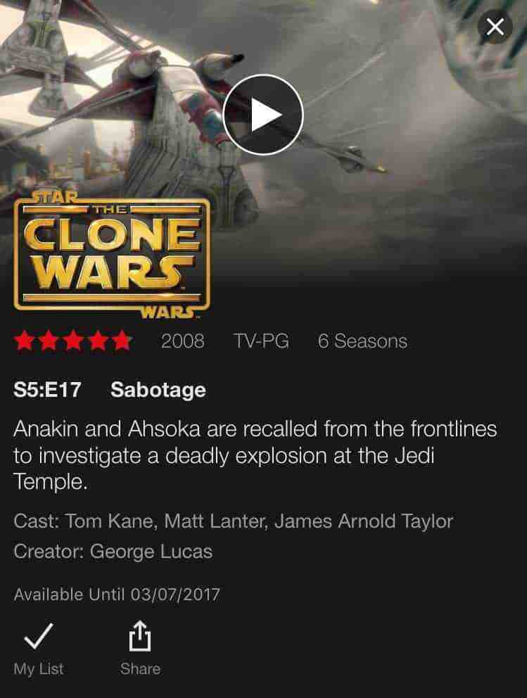 Star Wars: The Clone Wars is leaving Netflix March 7th