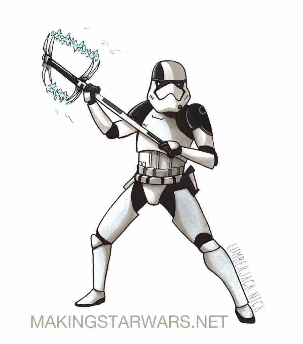 Accurate Captain Phasma, Executioner Stormtroopers, and Kylo Ren Star Wars: The Last Jedi character sketches