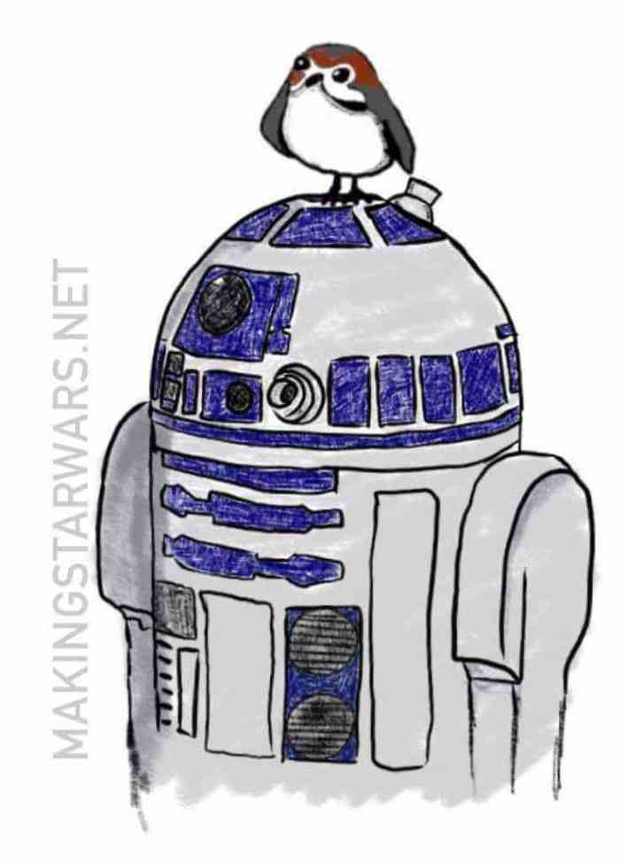 Our sketch of Artoo's new hat in Star Wars: The Last Jedi