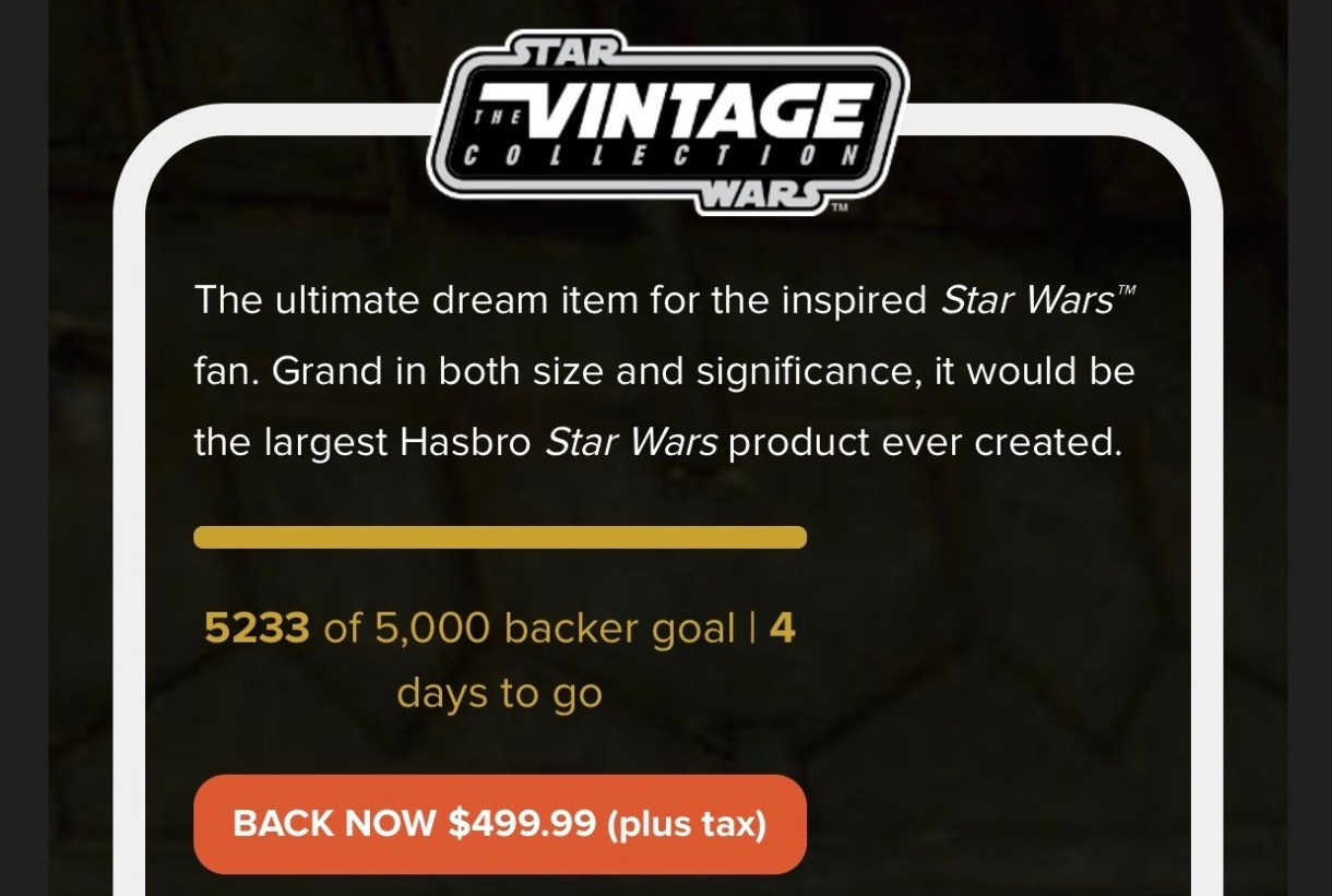 Hasbro's Star Wars Sail Barge is officially backed!