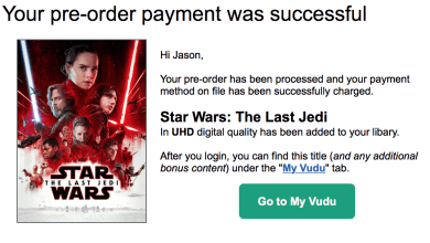 Photo of Pre-Order Star Wars: The Last Jedi at Vudu and get a $3 credit back from Vudu