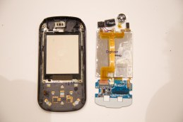 Phone front (left) and digitizer with other elements -- Back View