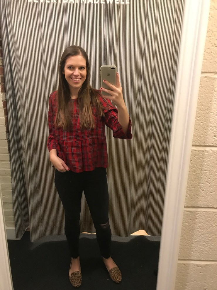 madewell plaid tiered button-back top