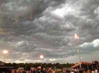 stadium and clouds moving in quickly