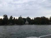 pulling out the pontoon and storing it for winter - looking back at the cottage