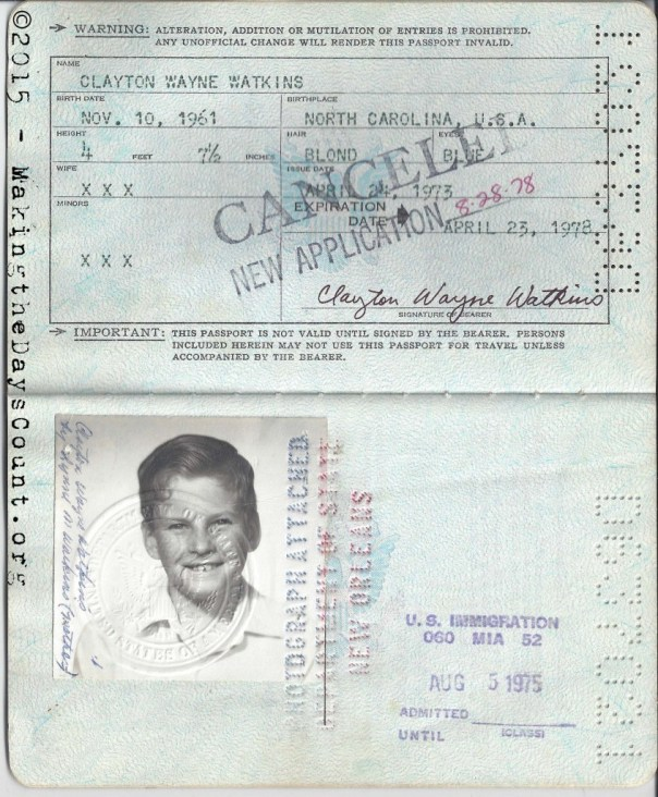 my passport - issued in 1973