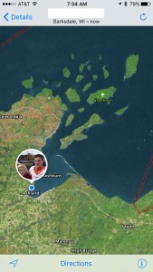 W's location Monday morning - the crew will be kayaking room island to island until Friday.