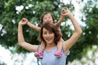 little girl on shoulders