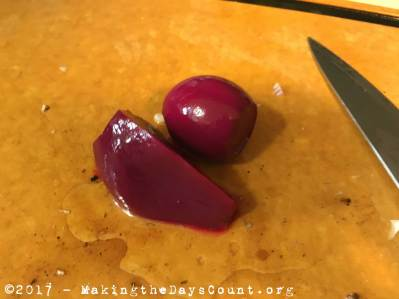 pickled beets and eggs - two different textures and tastes
