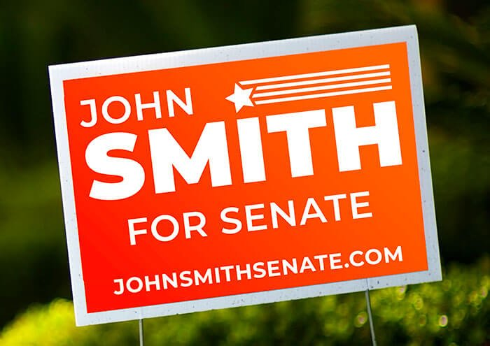 political yard signs and promotional materials