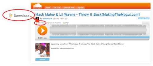 SoundCloud page for Mack Maine ft. Lil Wayne - Throw It Back