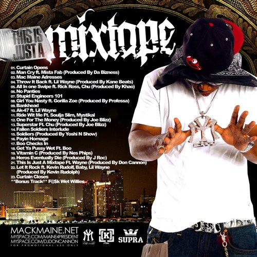 Mack Maine - This Is Just A Mixtape (Back Cover)