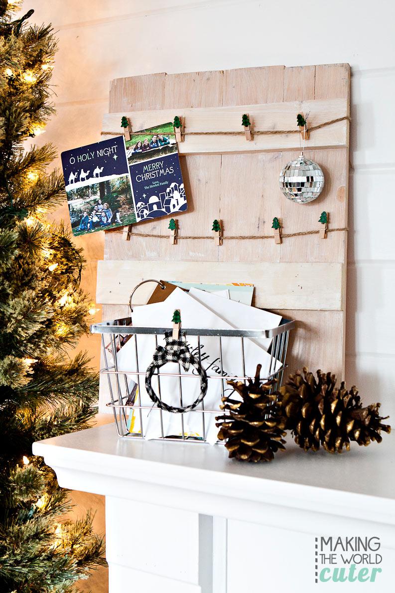Rustic DIY Christmas Card Holder