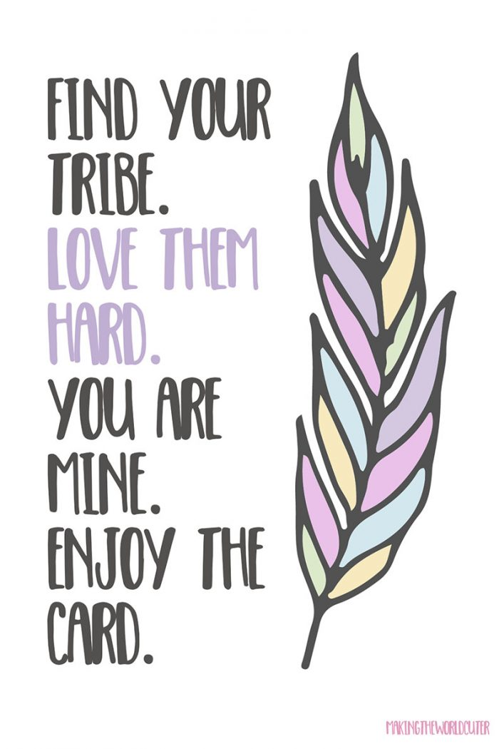 Download Free Tribe Valentine Cards Printables